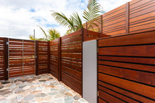 Backyard With Wooden Wall Of Modern House
