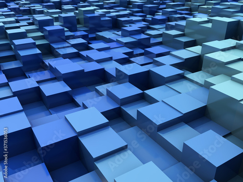 Fotografiet 3D abstract modern background with extruding blocks