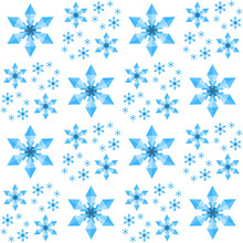 Christmas Snowflakes Seamless Pattern. Fractal Geometric Background Of Blue Flakes Isolated On White Background. For Xmas, New Year, Winter Holiday Design