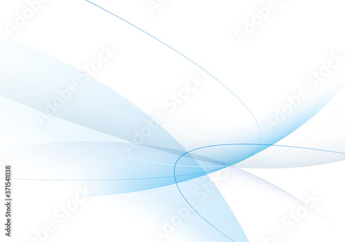 Fototapeta 透明感のある青い曲線のグラデーションの背景イラスト/横位置