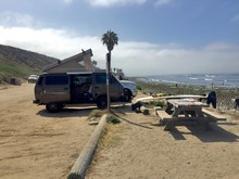 A Volkswagon Vanagon At San Onofre Surf Beach.