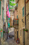 Fototapeta Uliczki - Picturesque narrow streets of the Old town in Kotor Montenegro in the Balkans on the Adriatic Sea