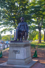 Charles Sumner Statue In Cambridge Common Next To Harvard University, Cambridge, Massachusetts MA, USA.