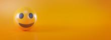 Smile Emoji On Yellow Social M...