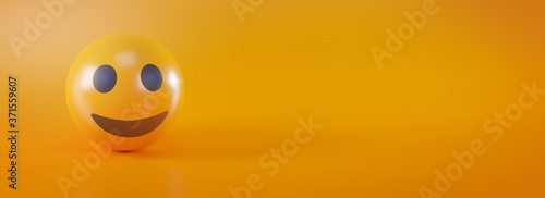 Fototapeta Smile Emoji on Yellow Social Media Concept Banner Background 3D Rendering