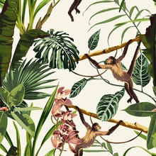 Seamless Pattern With Monstera, Liana, Leaves, Orchid Flowers And Monkey Animals. Illustration On Beige Background.