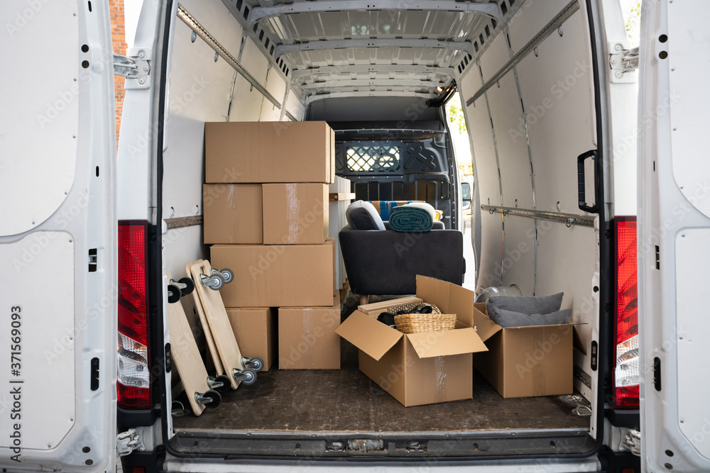 Fototapeta Van On Street From Relocation Service Business