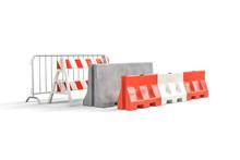 Four Types Of Road Barricades - Steel Barricade - A-frame Barricade, Concrete Barricade, Water Filled Barricade - 3d Render