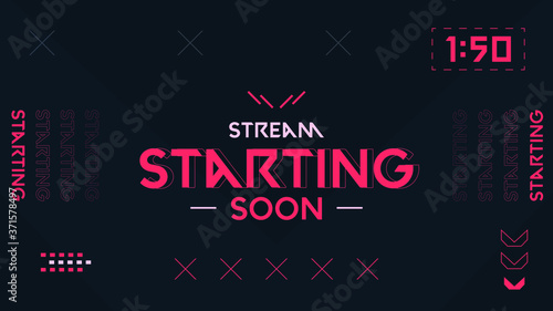 Stream Starting Background Orange and Black theme, Shooter Game Minimalist Geome Canvas