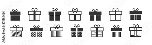 Obraz Gift box icon. Present symbol. Christmas box. Surprise with gift box in flat style. Set with gift in linear style. Vector - fototapety do salonu