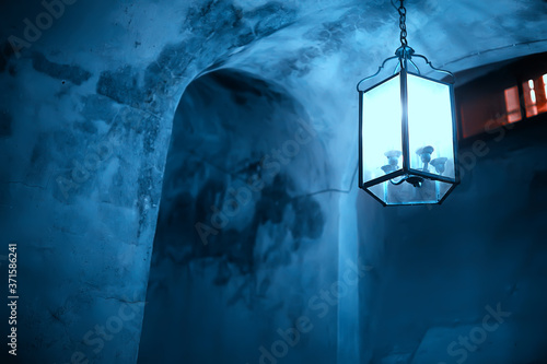 abstract vintage lantern in a house, lighting concept, historical architecture light background