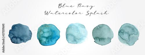 Valokuvatapetti Blue Navy Watercolor Splash