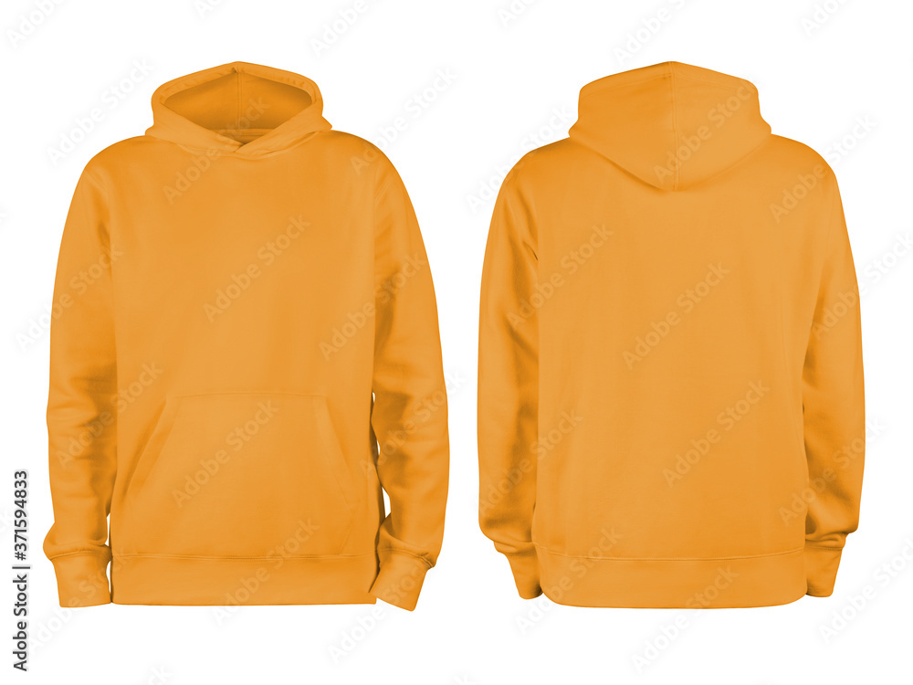 Fototapeta Men's orange blank hoodie template,from two sides, natural shape on invisible mannequin, for your design mockup for print, isolated on white background