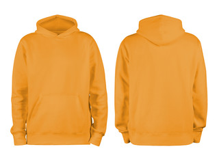 Men's orange blank hoodie template,from two sides, natural shape on invisible mannequin, for your design mockup for print, isolated on white background