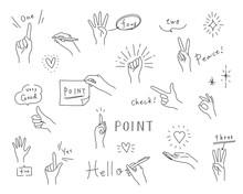 おしゃれな手の手描きイラストのセット/ポーズ/ピース/注目/GOOD/書く/持つ/ポイント