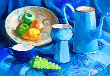Blue Still Life With Coffee Pot, Vase, Cup And Fruits Hand-drawn By Tempera On White Paper