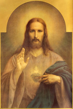 BRATISLAVA, SLOVAKIA, AUGUSRT 10, 2020: Copy Of Typical Catholic Image Of Heart Of Jesus Christ In The Jesuit Church Probably Original By Czech Painter Emanuel Dite (1862  - 1944).