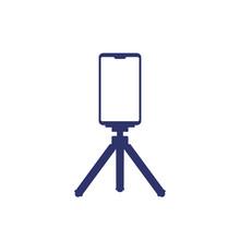 Mobile Phone On Tripod, Icon On White