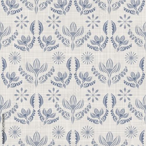 Seamless french farmhouse damask linen pattern Wallpaper Mural