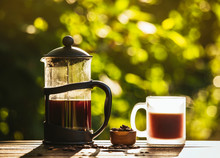 French Press Coffee And Cup On Table With Scattered Coffee Beans In Garden On Sunny Bright Morning Day. Reason To Wake Up Concept. Bokeh Green Background With Room For Text.
