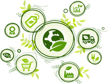 Sustainable Business Or Green Company Vector Illustration. Concept With Connected Icons Related To Environmental Protection And Eco Sustainability In An Organization.