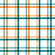 Gingham Seamless Pattern. Watercolor Strokes Checkered Plaid, Rustic Tartan Background, Vector. Vector Summer Print