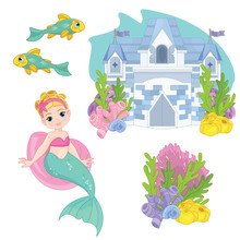 Cute Little Mermaid  Fairy Tale Set