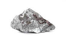 Macro Shoot Of Piece Of Nickel Metal Ore Isolated On A White Background. Closeup Photo Of Amazing Shiny Mineral Rough