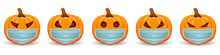 Set Pumpkin With Medical Mask On White Background. The Main Symbol Of The Happy Halloween Holiday. Orange Pumpkin With Smile For Your Design For The Holiday Halloween.