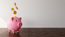 Piggy Bank And Coins In Empty Apartment With White Walls, 3D Illustration And Mockup Background Concept