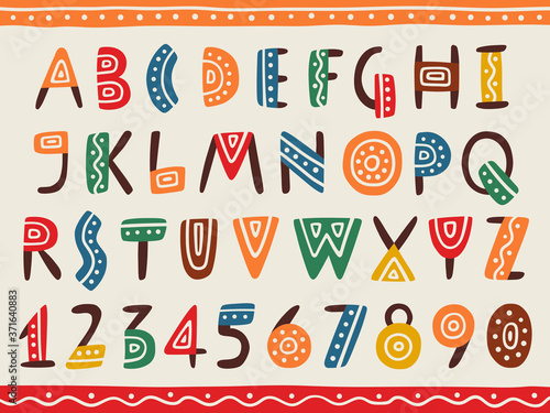 Fototapeta Tribal ethnic bright alphabet and number obraz