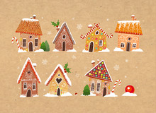 Set Of Cute Gingerbread Houses With Christmas Decorations On Craft Paper Background