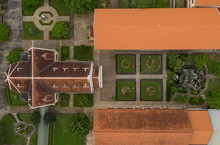 Top Down View Of The Congregation Of The Holy Cross Lovers In Thu Thiem, Ho Chi Minh City, Vietnam Is A Monestary Established By Nuns In 1840