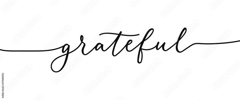 Fototapeta Grateful elegant lettering inscription isolated on white background. Modern calligraphy inspirational and motivational phrase for holidays, prints, cards.Vector illustration. Grateful black lettering