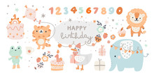 Happy Birthday Collection With Cartoon Animals. Baby Shower Celebration Design Elements: Rainbow, Cartoon Animals, Cakes, Flowers. Ideal For Kids Cards, Poster, Prints, Anniversary, Invitation