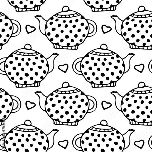 Tapety Angielskie  polka-dot-czajniki-i-serca-wzor-recznie-rysowane-doodle-prosty-liniowej-stylu-skandynawskim