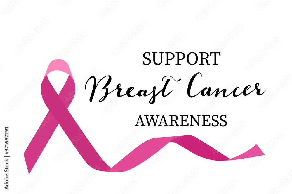 Fototapeta Support Breast cancer awareness hand lettering with pink ribbon vector