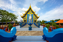 Blue Temple Known Also As Wat Rong Suea Ten, In Chiang Rai, Thailand.
