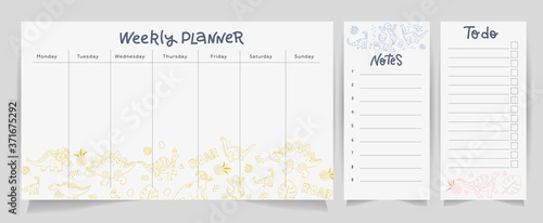Fototapeta Set of cute dino planners and to do list with Scandinavian design style and lettering. Template for stationery. Isolated. Vector linear doodle illustration obraz