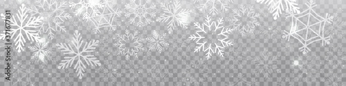 Vector heavy snowfall, snowflakes in different shapes and forms Canvas