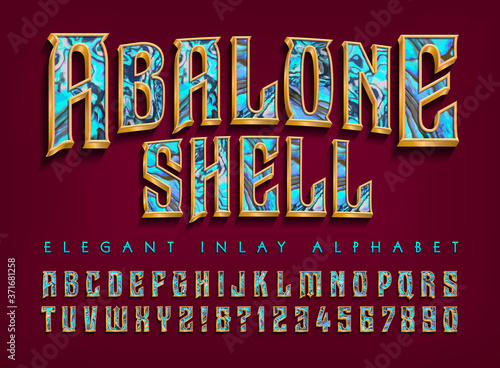 Billede på lærred Abalone Shell Inlay Effect Alphabet