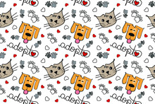 Adopt A Pet Seamless Pattern, Love For Dogs And Cats Wallpaper, White Background Line Art Design, Vector Illustration
