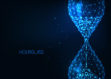 Futuristic Glowing Low Polygonal Sand Glass, Hourglass Isolated On Dark Blue Background.