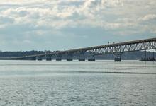 "View Of The Governor Harry W. Nice Memorial/Senator Thomas ""Mac"" Middleton Bridge (301 Bridge) From The Potomac River, Bridge Connects Dahlgren Virginia And Newburg Maryland."