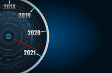 Happy New Year 2021 In The Form Car Speedometer, Creative Poster