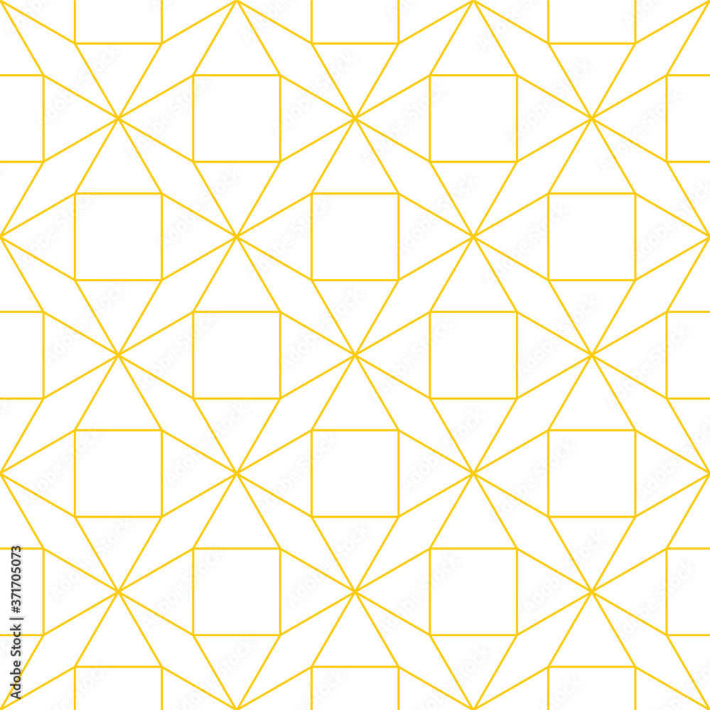 Fototapeta Tessellated repeating mathematical pattern of connected gold outlines of shapes on a white background, geometric vector illustration