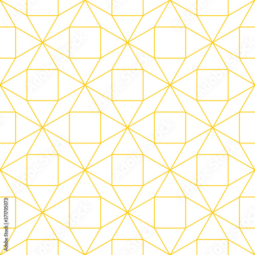 Fotografia Tessellated repeating mathematical pattern of connected gold outlines of shapes