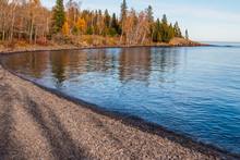 Fall Color On Pebble Beach, Lake Superior, Split Rock Lighthouse State Park,Two Harbors, Minnisota, USA