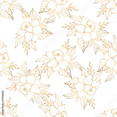 Fotografie, Obraz Golden seamless pattern with bouquet with narcissus