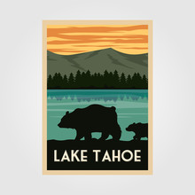 Lake Tahoe National Park Vintage Poster Outdoor Vector Illustration Design, Wild Bear Poster